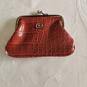 Tommy Hilfiger Red Croc Embossed Mini Coin Wallet
